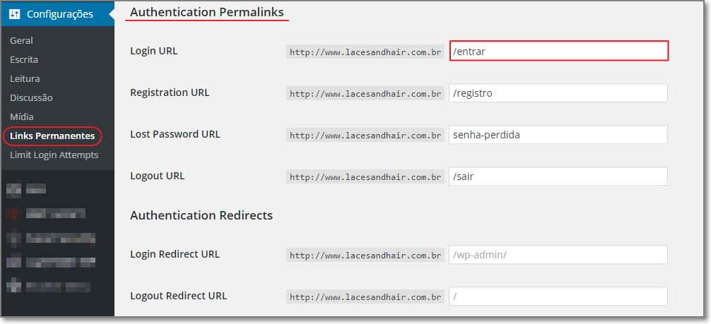 configurar o Custom Login Url para wordpress