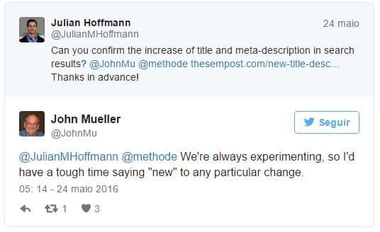 John Muller confirma testes do Google