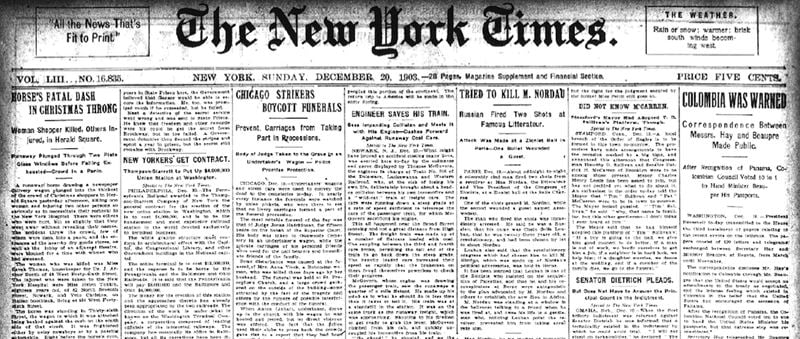 Capa do New York Times do dia 17/12/1903