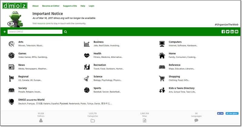 Home page Dmoz em 2017
