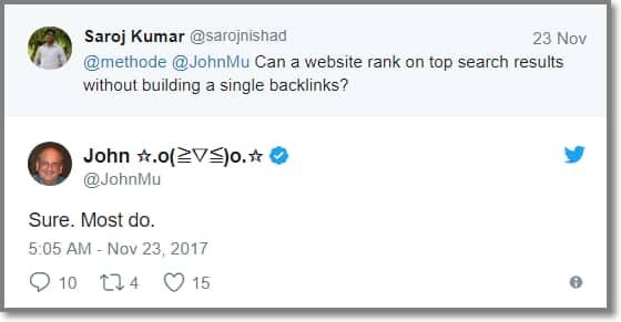 John Mueller confirma que sites se posicionam sem construção de links