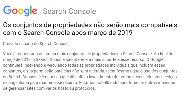 Conjuntos propriedades não serão mais compatíveis com o Google Search Console após março de 2019